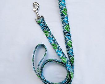 Retro Blue Green Tiles-Traffic Leash-Dog Leash- Plaid Leash 3, 4, 5, 6 Foot Leash- Geometric Leash