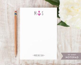 Personalized Notepad - ANCHOR MONOGRAM - Stationery / Stationary Notepad