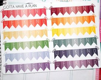 Planner Stickers Weekend Banner for Erin Condren, Happy Planner, Filofax, Scrapbooking