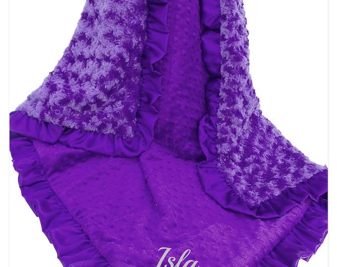 Purple Minky Baby Blanket, Orchid Minky baby Blanket, Rose Swirl and Minky Dot Baby Blanket,