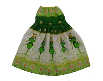 Green dress with frogs Rag dolls dress Dolls dress Dress for doll Clothes for dress up doll Cotton fabric dress Green dolls dress