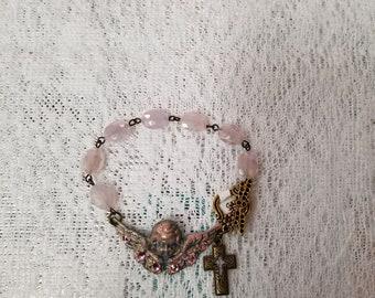 Pink Crystal Cherub Bracelet