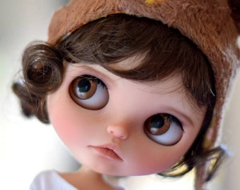"""10-11"""" BEAUTIFUL Short Brown Kiss doll WIG for Blythe and Neo Blythe Custom American Girl"""