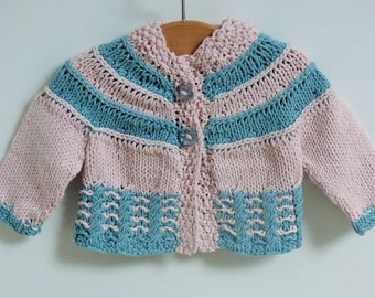 Top Down Knitting Pattern Cardigan Jacket Sweater Top Down for Baby & Child -  Tilda a top down seamless yoked cardigan (6 Sizes 0 - 5 yrs)