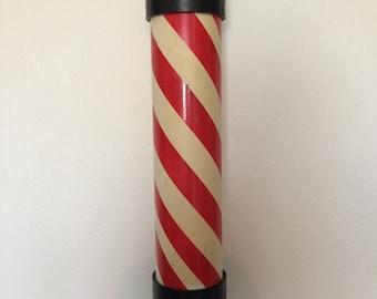Vintage Red White Barber Pole Plastic Decor Salon Shop Studio Wall Mount