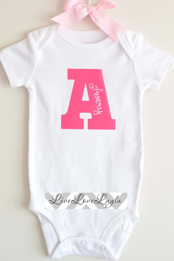 Girls Personalized Initial Bodysuit / Baby Bodysuit / Cute