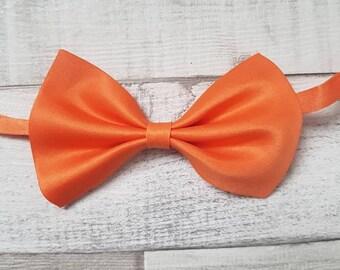 Adjustable bow tie, orange bow tie, Dog bow tie, bow tie, adjustable pet bow tie, satin bow tie, cat bow tie, collar bow tie, pet bow tie,