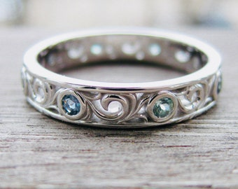 Green Purple Color Changing Natural Alexandrite Wedding Ring in Palladium with Fine Scroll Detail Size 7
