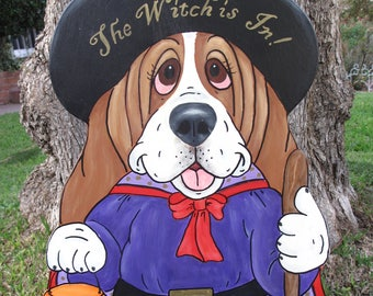 "Hand Painted Basset Hound Halloween Yard Art- Samantha the Witch Puppy ""The Witch is In"""