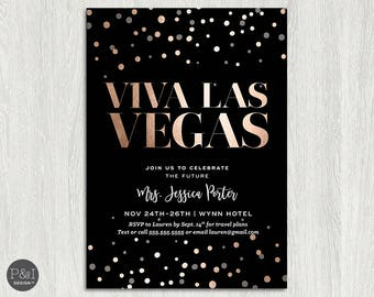 Vegas Bachelorette Party Invitation and Itinerary Back | Rose Gold, Champagne and Black (5x7)