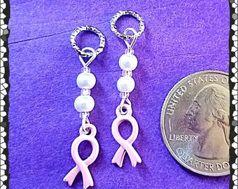 Hearing Aid Charms:  Pink Breast Cancer Awareness Ribbon with Glass and Glass Pearl Accent Beads!
