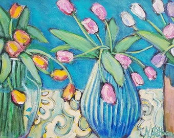 tulips,turquoise, lace, still life