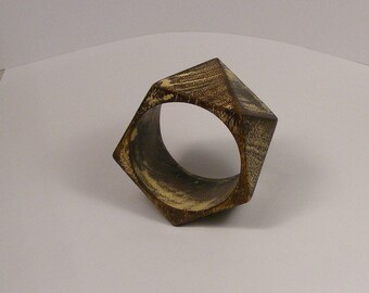 Vintage Wooden Bracelet - Wood Bangle- Geometric Wood Bracelet - Minimalist Jewelry