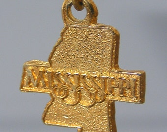 Mississippi Charm, Gold Charm, Vintage Charm, Silver Charm, Mississippi State Charm,  Pendant, USA Charm, America Charm, Free UK Postage