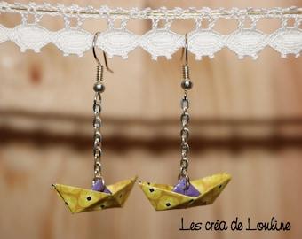 Earrings origami boat