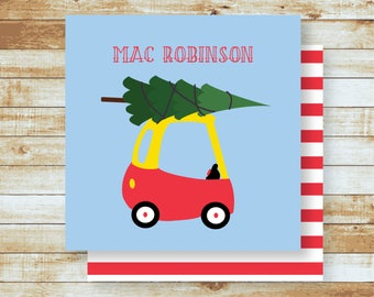 Personalized Gift Tags / Kids / Family / Little Toy Car Bringing Home the Christmas Tree