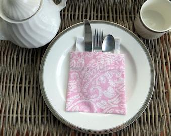 Pink flatware pockets, silverware holders, utensil holders, napkin holder