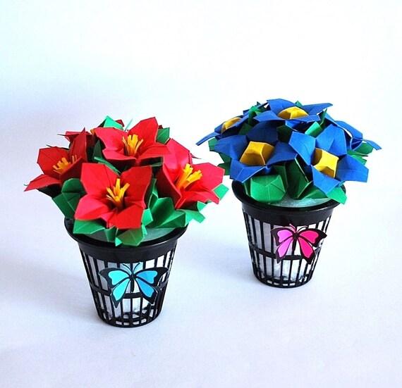 flower bouquet origami flowers paper flowers violet