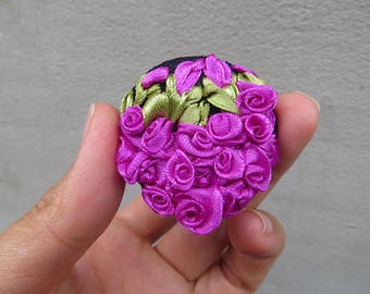 Brooches Embroidered brooch Ribbon embroidery brooch Fabric Flower brooch Pink rose brooch Nature lover gift Mom from daughter birthday gift