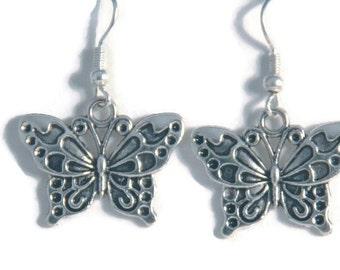 Silver Butterflies Earrings, bugs earrings, butterfly jewelry