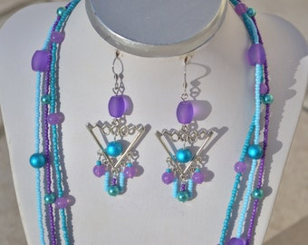 long triangle earrings turquoise blue and purple