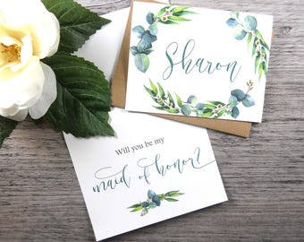 Will You Be My MAID of HONOR Card, Maid of Honor Proposal, Maid of Honor Card, Maid of Honor Gift, Bridesmaid Box, Greenery Wedding