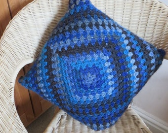 Crocheted Cushion with Pad - Square Granny Square Crochet Cushion - Square Pillow - Crocheted Pillow