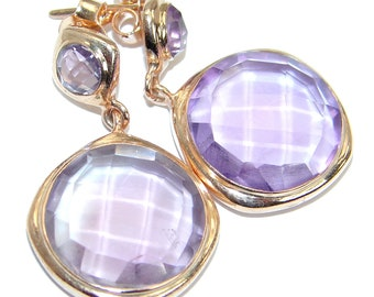 Pink Amethyst Sterling Silver Earrings - weight 8.70g - dim L - 1 3 8, W - 3 4, T - 3 16 inch - code 7-mar-18-61