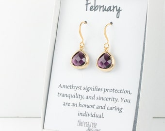 Tiny February Birthstone Gold Earrings, Amethyst Gold Earrings, Purple Gold Earrings, February Birthday Gift, Gifts Under 15