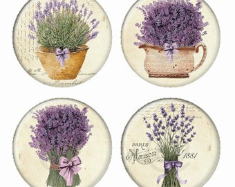 Lavender Bouquests Flowers Magnets or Pinback Buttons or Flatback Medallions Set of 4