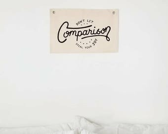 """Handmade Joshua Red Hand Lettered """"Don't Let Comparison Steal Your Joy"""" Wall Banner - Handmade Wall Flag - Handlettered Wall Pennant"""