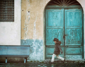 Italy Photography, Blue Door,Teal, Boy, Beige, Running, Home Decor, Wall Art, Lucca, Vintage  - Playful in Tuscany