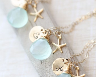 Gold Bridesmaid Gift SET, FIVE Personalized Necklaces, Bridesmaid Starfish Necklace, Wire Wrap Necklace, Bridal Jewelry Set, Beach Wedding