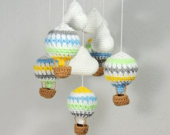 Hot Air Balloon Mobile Clouds Crochet Nursery Mobile