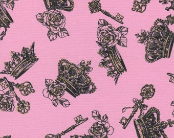 """Crowns and Keys PINK 100% Cotton ~ 42"""" Wide ~ Sold by the Yard"""