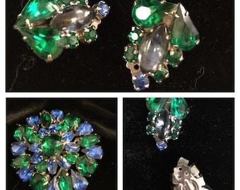 brooch and matching clip earrings, mid century jewelry,MCM,  FREE SHIPPING