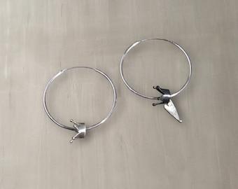 Crown Sterling Silver Wire Hoop Earrings/Sterling Silver Hinged Hoops with Crowns – S001AS