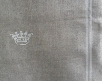 Embroidery of a Crown on the table runner pure linen on sale at the store