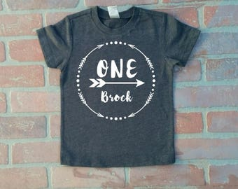 Boy's Heather Dark Gray Wild One First Birthday Shirt. Cake Smash Outfit. Boy's First Birthday shirt.