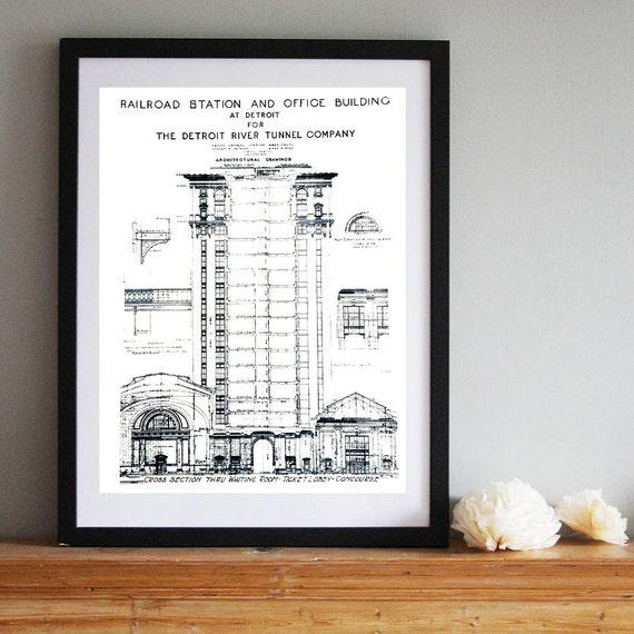 Blueprint Screen Print Poster. Detroit art print 19x25