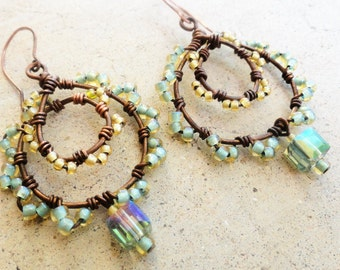 Spring Green Yellow Beaded Antiqued Copper Loop Earrings Wire-wrapped Dangle Earrings By Distinctly Daisy