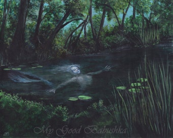 The Mermaid, Merrow, Fairy Tale, Folk Tale, Irish Folklore, Pisces, Fish, Cryptozoology, Original Painting, Storybook Art, Nymph, Selkie