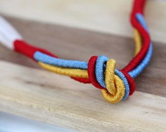 Rope Knot Necklace, Rope Necklace, Cord Necklace, Choker Necklace, Fabric Necklace, Knot Necklace, Small Necklace