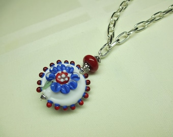 Red White and Blue Lentil Lampwork Bead Pendant Necklace