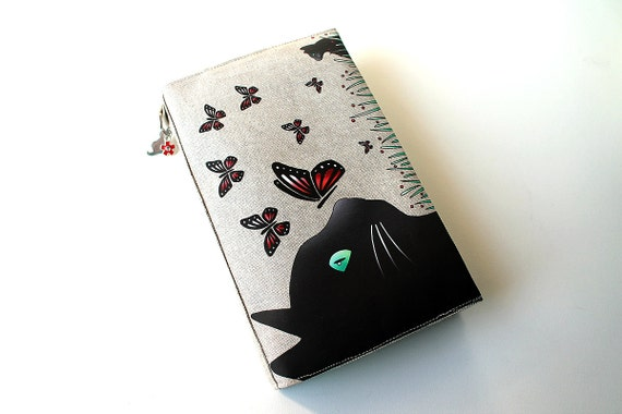 """Adjustable pocketbook illustrated linen """"cat and butterflies"""""""