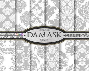 Gray Digital Paper: Gray Damask Digital Paper Pack, Silver Scrapbook Paper, Silver Damask Scrapbook Paper Gray Damask Paper Digital Download