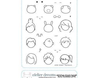 AD-003 EXPRESSIONS - Planner Stamps (Photopolymer Clear Stamp) Emoji Stamps, Kawaii Stamps
