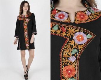 India Dress Indian Dress Boho Dress Bohemian Dress Ethnic Dress Black Dress Vintage 80s Floral Embroidered Festival Mini Dress S