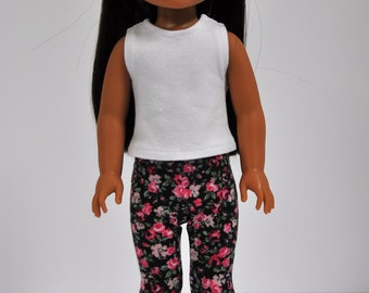 Black and Pink Floral Leggings Jeggings Pants made to fit Wellie Wishers Doll  Clothes 14.5 Inch Doll Clothes