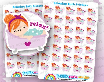 35 Cute Relaxing Bath/Relax/Me Time Planner Stickers, Filofax, Erin Condren, Happy Planner,  Kawaii, Cute Sticker, UK